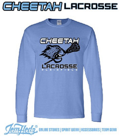 Carolina Blue Long Sleeve T-Shirt with Plainfield Cheetah Lacrosse logo on front in standard print