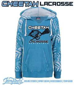 Ladies' Blue Jungle Sleeve Hoodie with Plainfield Cheetah Lacrosse logo on front in standard print