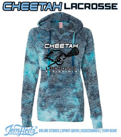 Ladies' Blue Burnout V-Neck Hoodie with Plainfield Cheetah Lacrosse logo on front in standard print