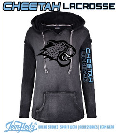 """Ladies' Black/Grey French Terry Pullover with Cheetah on front and """"Cheetah Lacrosse"""" down left sleeve in standard print"""