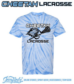 Columbia Blue Tie Dyed Short Sleeve T-Shirt with Plainfield Cheetah Lacrosse logo on front in standard print