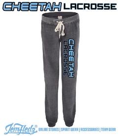 """Dark Grey Ladies' Fleece Sweatpants with """"Cheetah Lacrosse"""" down left leg in standard print"""