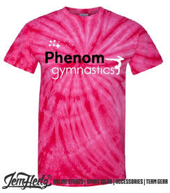 Pink Tie Dyed Short Sleeve T-Shirt with Phenom star logo
