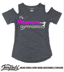 Grey Cold Shoulder Short Sleeve T-Shirt with Phenom star logo