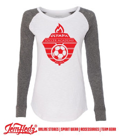 White\Grey Preppy Patch Long Sleeve T-Shirt with Olympic Soccer logo on front