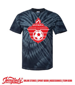 Black Tie Dyed Short Sleeve T-Shirt with Olympic Soccer logo on front