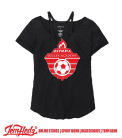 Ladies' Black Moxie Tee with Olympic Soccer logo on front