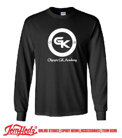 Black Long Sleeve T-Shirt with Olympic Soccer Goal Keeper Academy logo on front