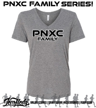 Bella + Canvas Grey Triblend Ladies' Relaxed Fit Short Sleeve V-Neck T-Shirt with PNXC Family logo on front
