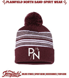 Maroon/White/Grey Striped Pom Pom Knit Cap with P/N embroidered logo