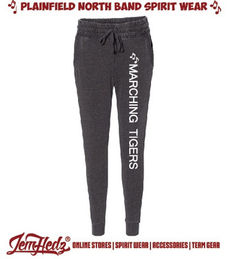 "Charcoal Grey Boxercraft Ladies' Fleece Joggers with ""Marching Tigers"" down left leg in white"