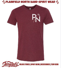 Cardinal Red Triblend Short Sleeve T-Shirt with P/N logo printed on front left chest