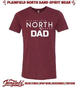 Cardinal Red Triblend Short Sleeve T-Shirt with North Band Dad logo printed on front