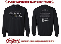 Black Crewneck Sweatshirt with Edison's Enigma show shirt logo on front, event dates on back