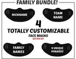 Black 100% cotton customizable decorative face masks