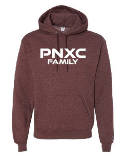 Champion Heather Maroon Hooded Sweatshirt with PNXC Family logo on front in standard print.