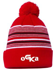 Red Striped OGKA embroidered Beanie