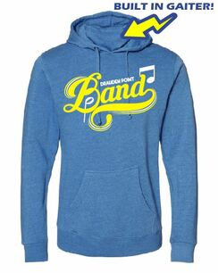 Drauden Point Band Heather Royal Hooded Sweatshirt with Gaiter Built in Logo 2