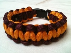 Gold with Maroon Edge Paracord Bracelet