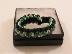Green/White Camo with Black Edge Paracord Bracelet