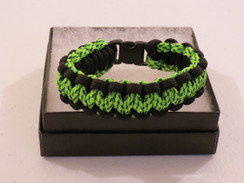 Neon Green/Black Camo with Black Edge Paracord Bracelet