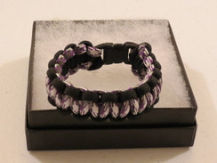 Purple/White Camo with Black Edge Paracord Bracelet
