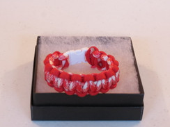 Red/White Camo with Red Edge Paracord Bracelet