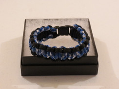 Royal Blue/White Camo with Black Edge Paracord Bracelet