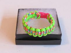 Tie Dye Camo with Neon Green Edge Paracord Bracelet