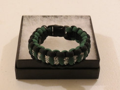 Hunter Green with Black Edge Glitter Paracord Bracelet