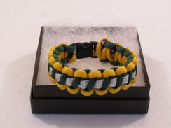 Hunter Green with Yellow Edge Glitter Paracord Bracelet