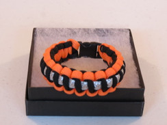 Black with Orange Edge Glitter Paracord Bracelet