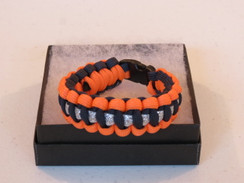 Navy with Orange Edge Glitter Paracord Bracelet