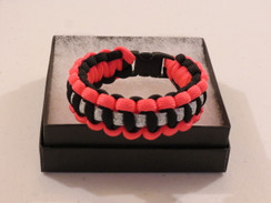 Black with Pink Edge Glitter Paracord Bracelet