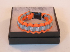 Grey with Orange Edge Glitter Paracord Bracelet