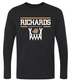 Long Sleeve T-Shirt with Richards Basketball logo on front in standard print
