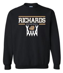 Black Crewneck Sweatshirt with Richards Basketball logo on front in standard print