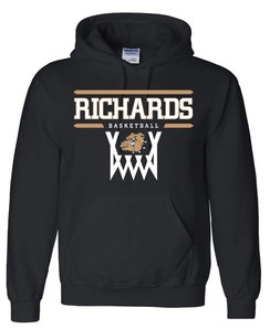 Black hooded sweatshirt with Richards Basketball logo on front in standard print