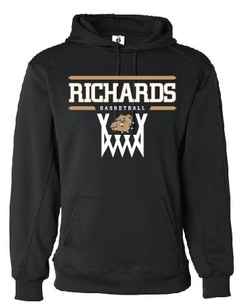 Black Badger Performance Hoodie with Richards Basketball logo