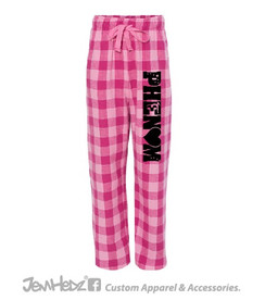 Pink Flannel Pants with black Phenom logo down left leg