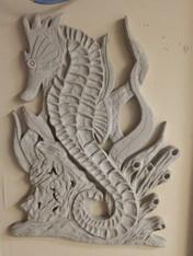 4' Seahorse Stucco Art