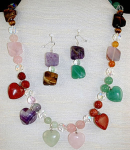 Heart charm necklace set
