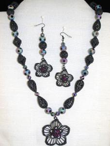 Matte black metal necklace set