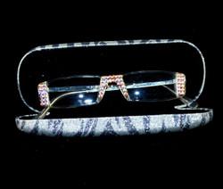 Lt.Rose Crystals on Silver frames in Silver Zebra case