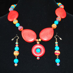 Full view of necklace and earrings