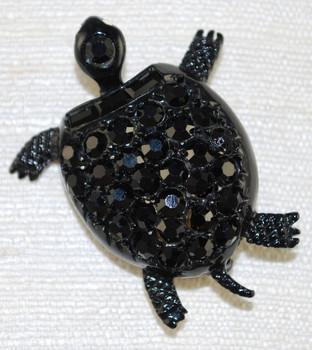 Front view of Designer vintage turtle jet crystal pin