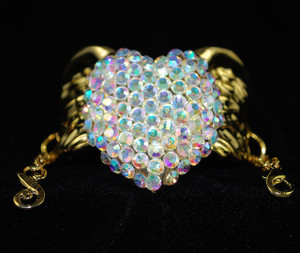Front view of AB crystal winged heart bracelet
