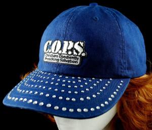 3/4 view of Crystal visor on cap