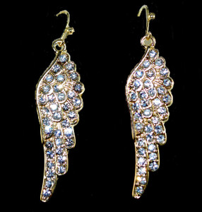 Bling Angel Wing Rhinestone Drop Earrings