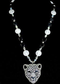 Full view of hand-beaded/knotted necklace